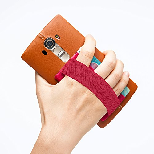 SINJIMORU Phone Grip with Card Holder for Phone, Stick on Phone Wallet with Phone Finger Gripper Storing Credit Cards. Strap Pocket for Cell Phone. Sinji Pouch Band, Red Pouch and Red Band.