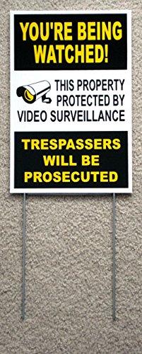 Burglar Bill Costume Ideas (1Pc Superb Popular You're Being Watched Yard Sign Anti-Burglar Anti-Thief CCTV Warning Size 8