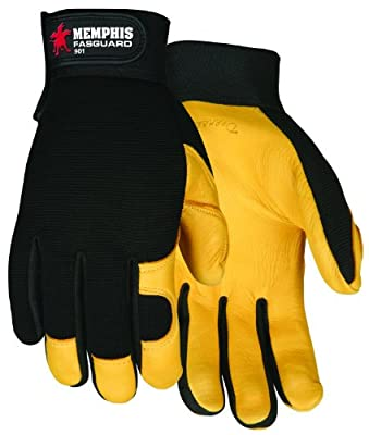 MCR Safety 901L Fasguard Premium Grain Deerskin Multi-Task Gloves with Black Spandex Back and Adjustable Wrist Closure, Yellow/Black, Large, 1-Pair