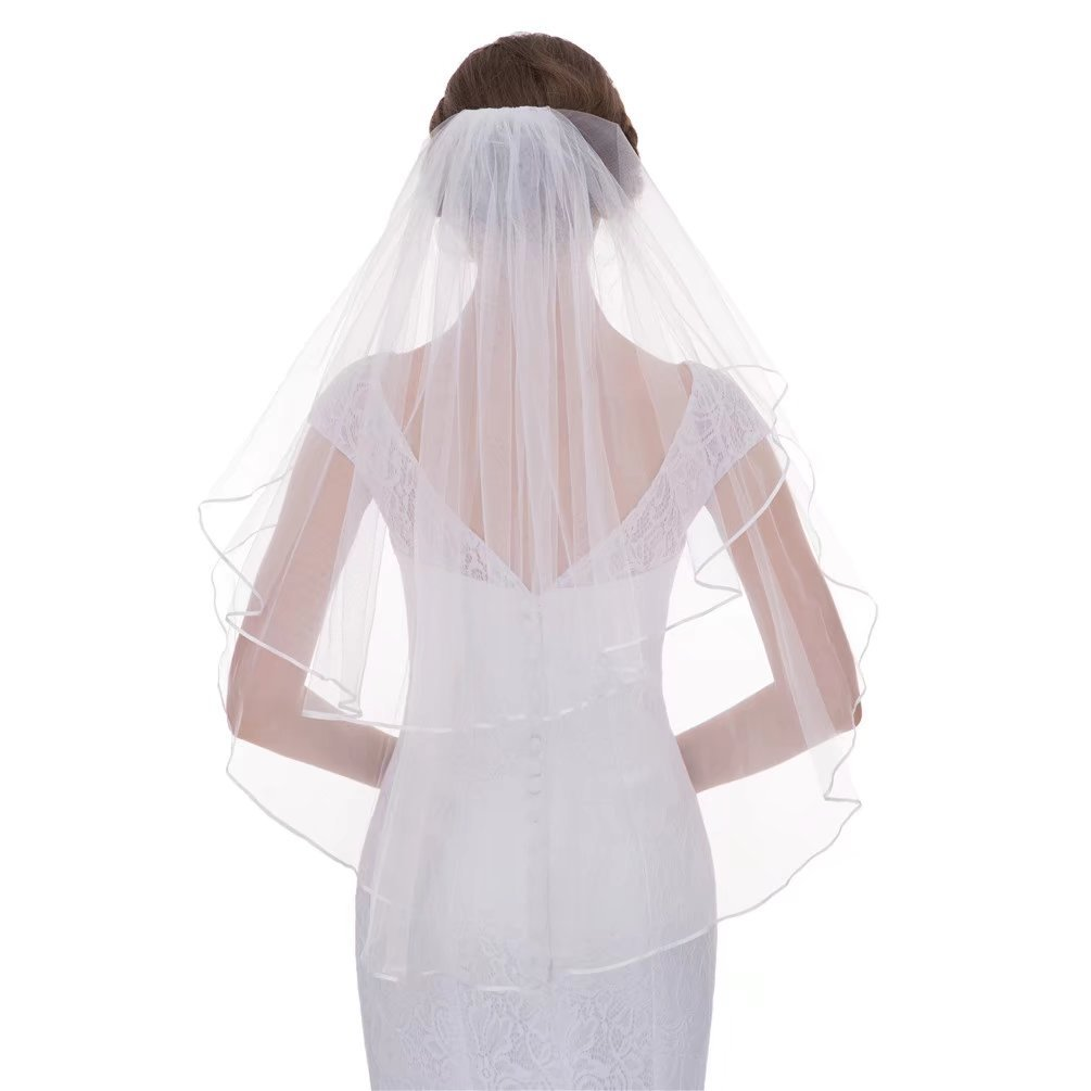 2 Tiers Bridal Veils Ribbon Edge Short Veils For Bridal Wedding Accessories With Comb V34 Ivory