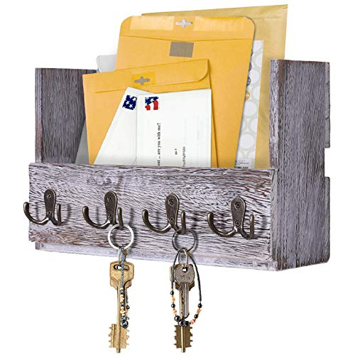 Comfify Wooden Wall Mount Mail Holder Organizer – Rustic Key Holder Organizer for Wall – Magazine Holder with 4 Double Key Hooks – Distressed White Rustic Wall Décor for Entryway