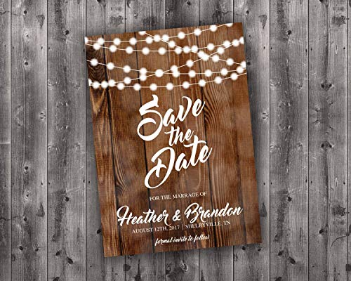 Save the Date Cards Printed, Save The Date Wedding Invite, Affordable, Cheap, Lights, Calendar, Wood, Rustic, Postcard, Country, Photo]()