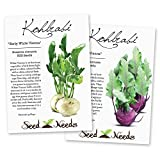 Kohlrabi Seed Packet Duo (Purple Vienna & Early White Vienna) Seeds by Seed Needs