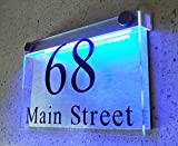 ThedisplayDeal LED illuminated Modern House Numbers Address Plaque, 8'x5'x1' Rectangle Clear Acrylic and Brushed Aluminum Background Double Panel (Rectangle Clear-Acrylic BlueLED)