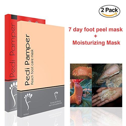 Foot Peel Mask, Results 100% Guaranteed Remove Cracked Heels, Calluses and Dry Skin, Get Beautiful Baby Feet in 7 Days - Foot Peeling Mask (2-pack Bundle) ()