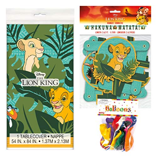 The Lion King Themed Party Decorations - Includes Party Banner,Tablecloth and Ten 12
