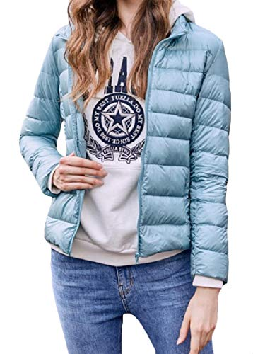 Jacket Weight Fit Women's Down Blue Pocket Sleeve XINHEO Light Light Stand Zip Collar Long Up AaURv