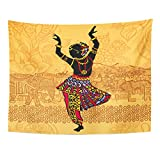 VaryHome Tapestry Dance Silhouette of Beautiful Indian Women in the Landscape Dancing Woman India City Home Decor Wall Hanging for Living Room Bedroom Dorm 60x80 Inches