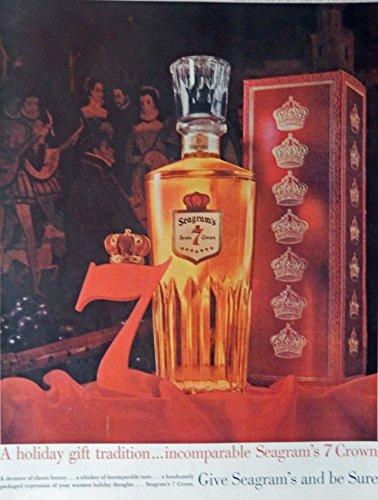 seagrams-7-crown-whiskey-60s-vintage-print-ad-color-illustration-original-rare-1960-life-magazine-ar