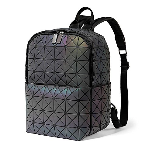 DIOMO Geometric Backpack Holographic Small School Bags Travel Purse (Luminous A style, Small)