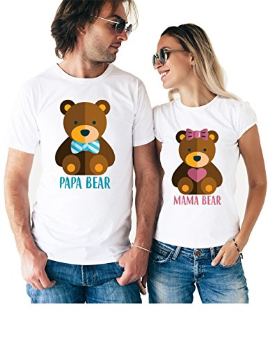 Mama Papa Bear Matching Couple T Shirts - His and Hers Custom Shirts - Couples Outfits for Him and Her for $<!--$26.95-->