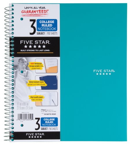 043100060505 - Mead 5 Star Notebook, 3 Subject College Ruled carousel main 4