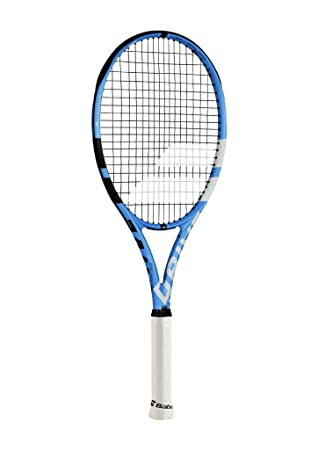 Babolat Pure Drive Lite Black Blue White Tennis Racquet Strung with Custom Racket String Colors Best Lightweight All-Court Racket