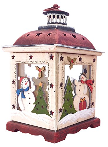 Table Centerpieces With Lights - Christmas Snowman Lantern Decoration - Decorative Holiday Table Centerpiece or Hanging Lantern Holder for Pillar Candle or LED Light Indoor Use, by Clovers Garden (10.5