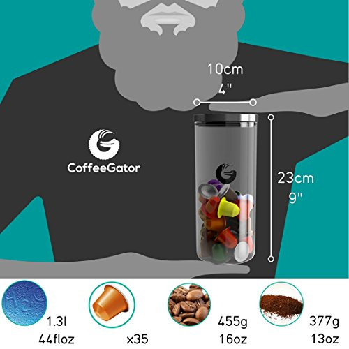 Coffee Pod Storage Container | 45oz - 35 Nespresso Pod | Glass Jar with 'Pop & Lock' Lid | Visual Display | Pod Holder, Beans and Grounds | By Coffee Gator