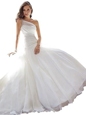 Bride Mermaid One Shoulder Dresses