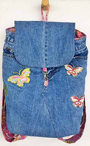 (Upcycled Gasoline Jeans Back Pack, Book Bag, Butterflies, Pink Floral Fabric, Eco)