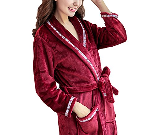 Respeedime Bathrobes Autumn and Winter Night Gown Women Thick Pajamas Flannel Robe XS