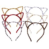 Halloween Cat Ear Headband, Leopard Print Hair Band Fluffy Hair Hoop for Party, Assorted Colors-6PCS