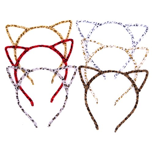 Halloween Cat Ear Headband, Leopard Print Hair Band Fluffy Hair Hoop for Party, Assorted Colors-6PCS