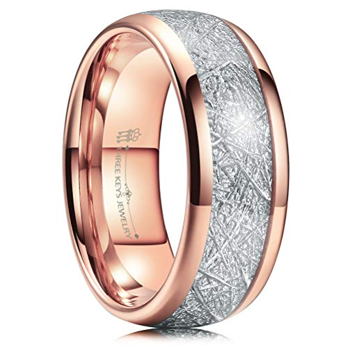Three Keys 8mm Tungsten Wedding Ring for Men Domed Imitated Meteorite Inlay Polished Rose Gold Mens Meteorite Wedding Band Engagement Ring Promise Ring Size 12