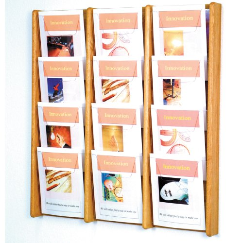 (DMD Literature Display, 12 Pocket, Solid Oak and Acrylic Wall Mount Rack, Light Oak Wood Finish)