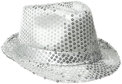 Be Wicked Women's Sequin Fedora Hat, Silver, One