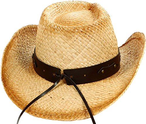 TAUT Unisex Woven Straw Ranch Cowboy Hat with Shapeable Brim Bull_Beige
