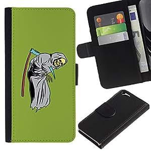 ZCell / Apple Iphone 6 / Scythe Death Funny Reaper Grim Green / Caso Shell Armor Funda Case Cover Wallet / Guadaña muerte divertido Reape