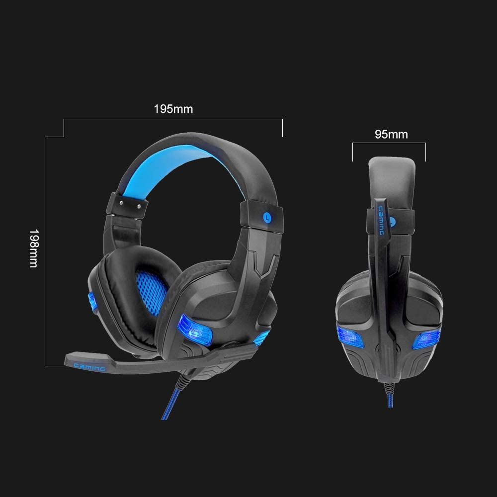 Docooler SY860MV Gaming Headset 3.5mm Wired Over Ear Headphones Noise Canceling Earphone with Mic LED Light Volume Control AUX+USB for Desktop PC