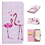 Galaxy S8 Plus 3D Phone Case,Samsung Galaxy S8 Plus Case with Fold Stand Feature,Gostyle Premium PU Leather Wallet Two Flamingos Painted Pattern Magnetic Flip Cover with Card Slots.
