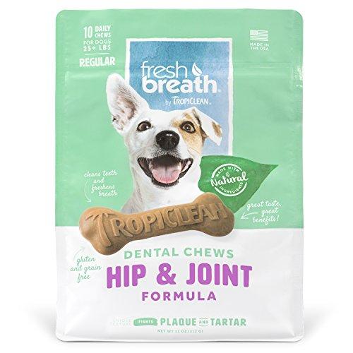 Tropiclean Fresh Breath Hip & Joint Dental Chews, 10 Count, New Formula