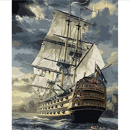 DIY 数による絵画 帆船海景デジタル油絵キット番号でペイントアクリル手描きの家の装飾のための油絵-40*50cm