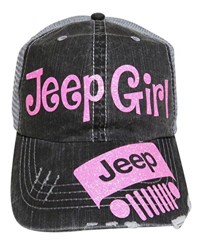Glitter Jeep Girl Distressed Trucker product image