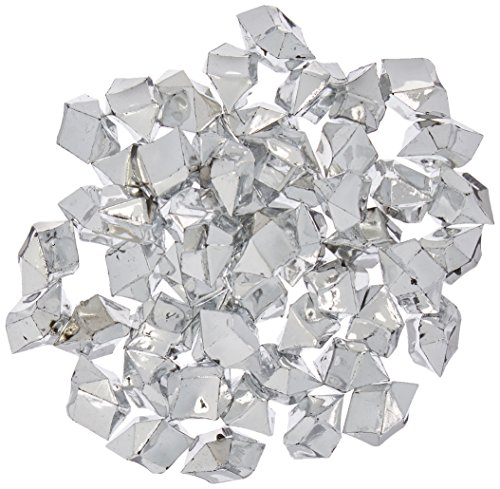 Homeford PSGV5201SV_50pc Acrylic Crystal Ice Rocks Table Scatter, 50-Piece ,Silver, 1-Inch]()