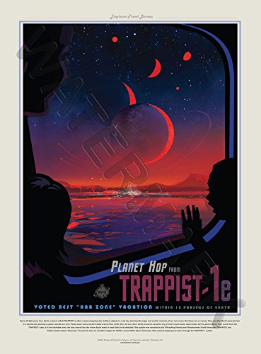 Trappist the best amazon price in savemoney nasa poster space travel advert trappist 1e planet hop art print fandeluxe Image collections