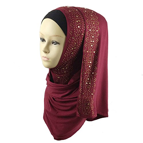 (Cotton Jersey Hijab Scarf Wrap Glittering Rhinestones Scarf for Women Solid Color Scarf (Wine Red))