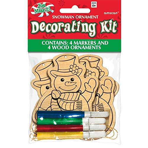 amscan Color-Your-Own Wood Snowman Ornament Kit, 4 Ct. | Christmas Decoration -