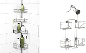 Zenna Home Tension Pole Shower Caddy, Satin Nickel & Expandable Over-The-Shower Caddy, Chrome