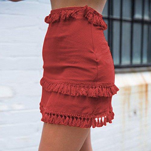 Dihope Moulante Orange Slim Taille Mini Haute Courte Jupe Unie Vacances Couleur Femme Franges Plage rrwznOZq