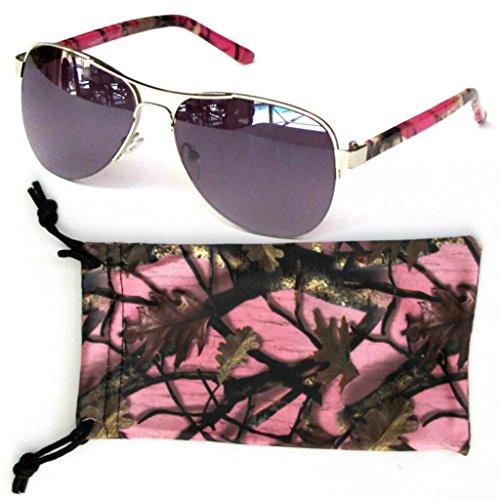 Womens-Camouflage-Sunglasses-PinkHot-PinkPurple-Aviatorw-Free-Microfiber-Bag