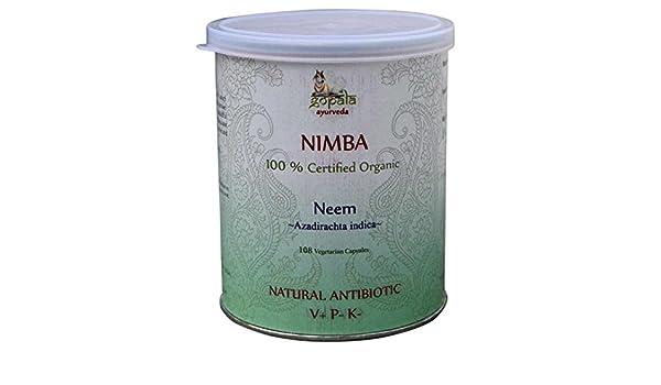 NIMBA -Neem- (Azadirachta indica) en cápsulas, Certificado Ecológico LACON GmbH en Europa, Fórmula Ayurveda como antibiótico natural, Antimicrobiana, ...