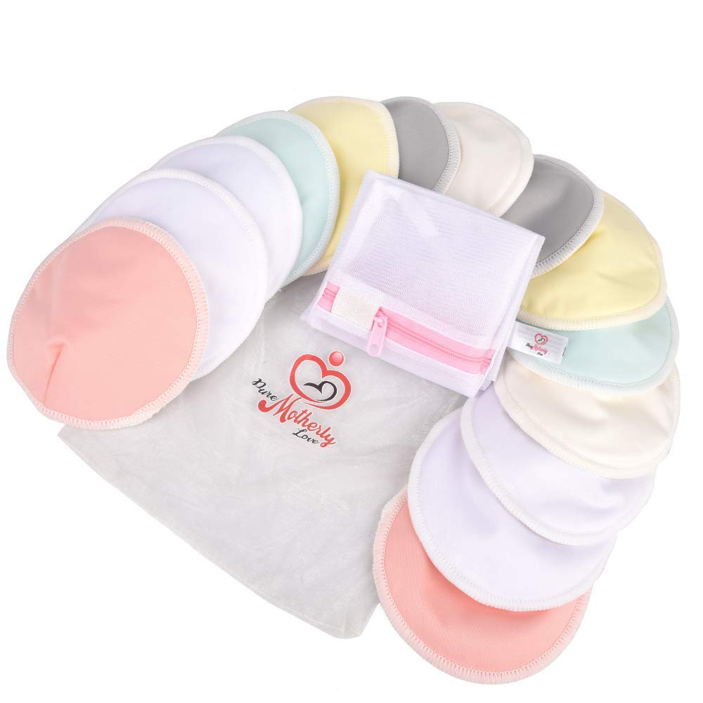 Pure Motherly Love Reusable Bamboo Nursing Pads |14 Pads+3 Bonus Items | Large Size (4.7 inches) | Soft & Super Absorbent | Leak-Proof | with Laundry & Organza Bags | Perfect Baby Shower Gift by PureMotherlyLove