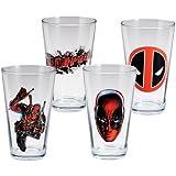 Vandor 26312 Marvel Deadpool 4 pc 16 oz Glass Set, Red, Black, and White