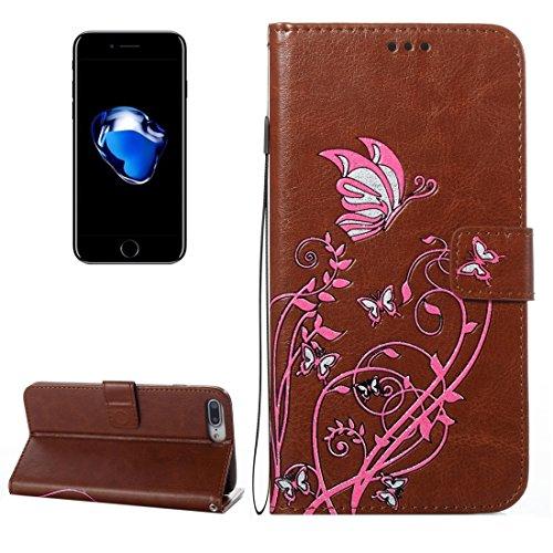 MXNET IPhone 7 Plus Fall, Spannung Crazy Pferd Textur Horizontale Flip Leder Tasche mit Halter & Card Slots & Wallet & Lanyard CASE FÜR IPHONE 7 PLUS ( Color : Brown )