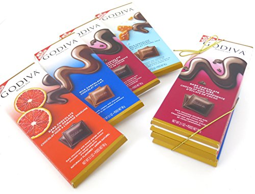 ark Chocolate Sea Salt, Dark Chocolate Blood Orange, Milk Chocolate Salted Caramel, and Milk Chocolate, Size 3.1 Oz Each, Pack of 4 (Godiva Caramel Milk Chocolate)