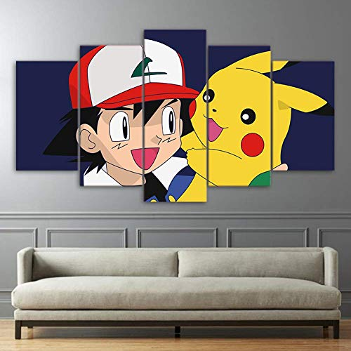 GTT& Print On Canvas Pokemon Pikachu Picture 5 Panels Canvases Art Prints Wall Artwork Digimon Anime for Kids Room,B,20×35×2+20×45×2+20×55×1 -