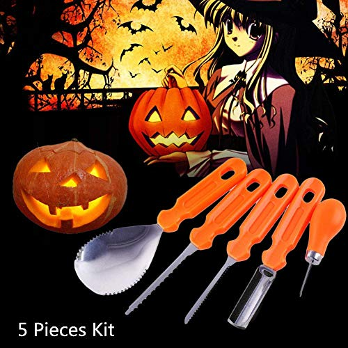 5 Pieces Halloween Pumpkin Carving Kit Professional Heavy Duty Stainless Steel Tool Set for Kids and Family Handcraft Easy Carve Sculpt Jack-O-Lanterns