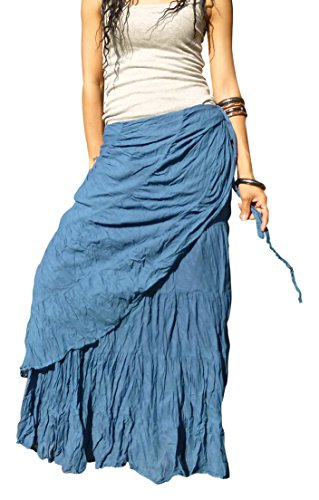 Billy's Thai Shop Sexy Wrap Skirt Pleated Gypsy Flamenco Long Skirts for Women, Blue S (Solid Crinkle Skirt)