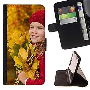 For Samsung ALPHA G850 Case , Bebé Otoño Joven Bebé Hojas de Equitación- la tarjeta de Crédito Slots PU Funda de cuero Monedero caso cubierta de piel